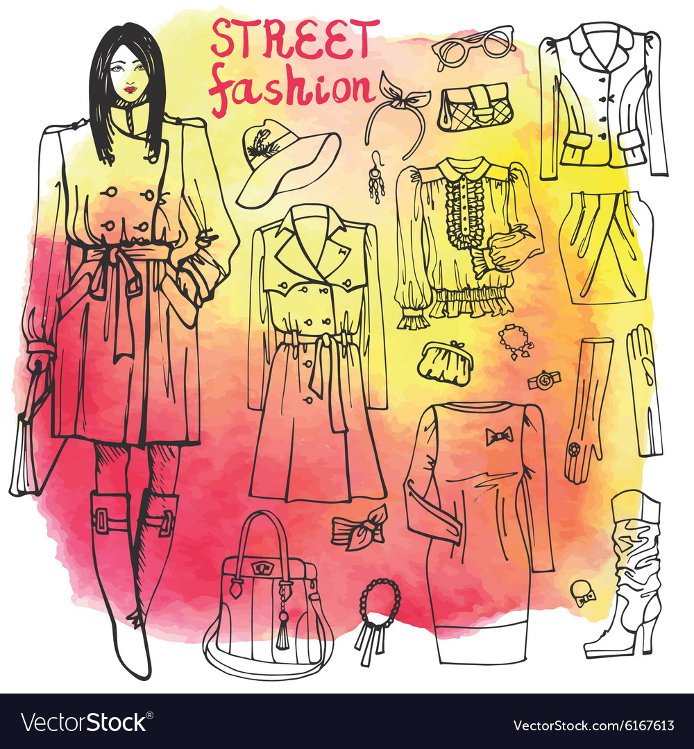 Girl and street fashion clothing setSketchy on vector image