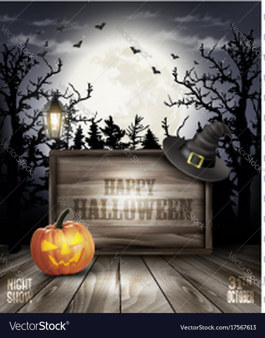 Scary halloween background with pumpkin and Vector Image
