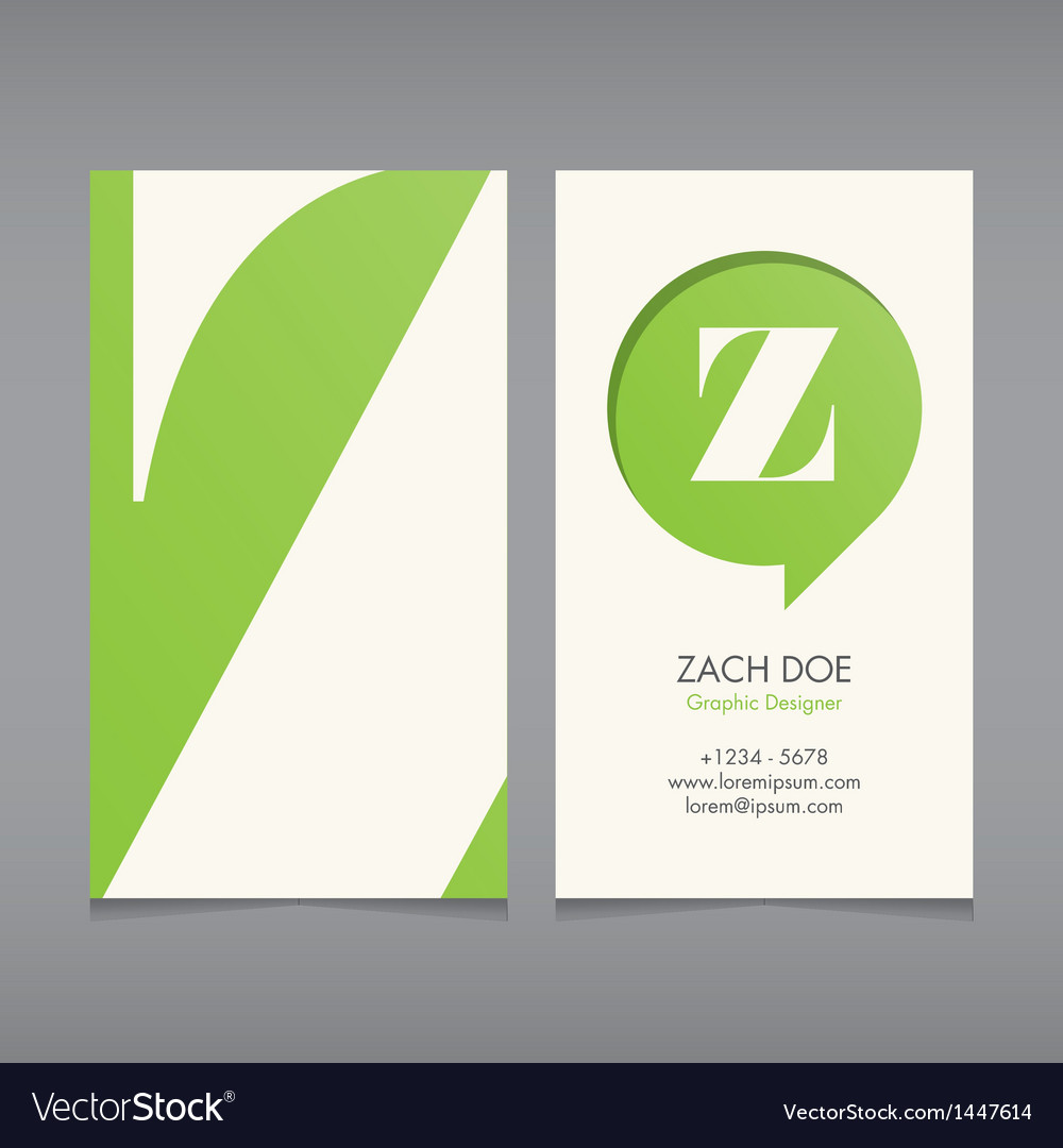 business card template letter z royalty free vector image