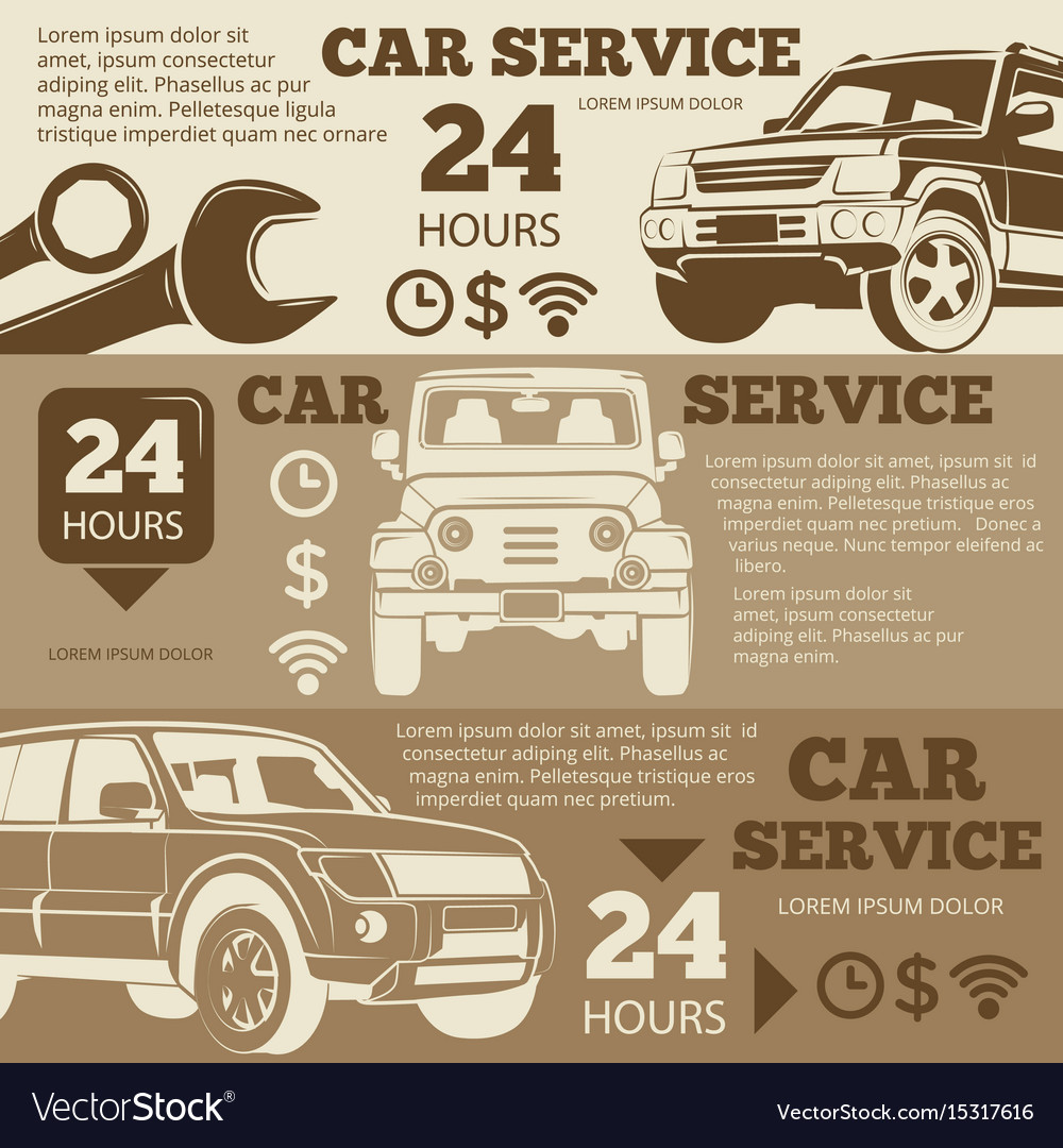 Off-road car service vintage banners collection vector image