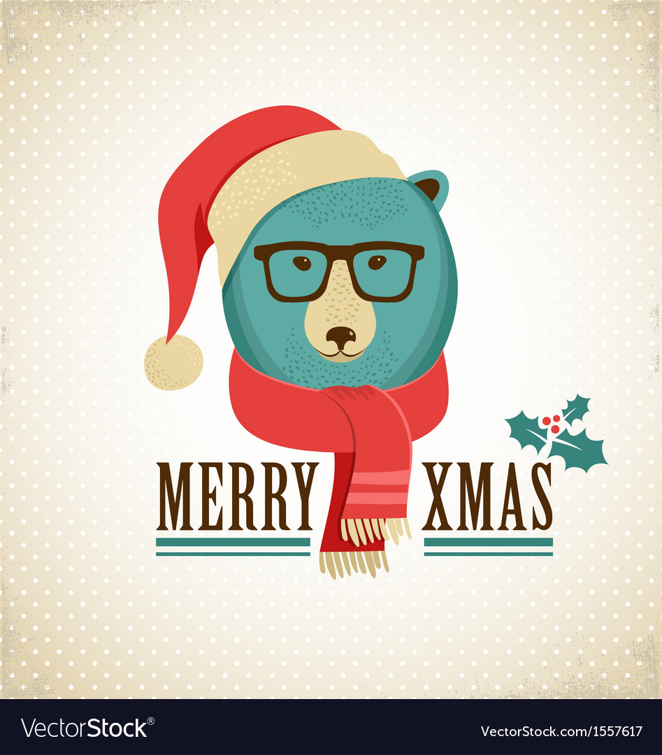 Christmas background with hipster bear vector image