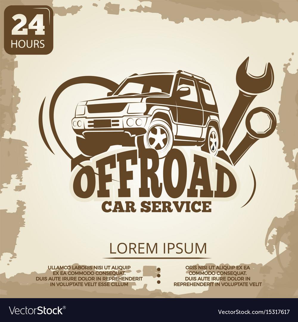 Off-road car service vintage poster design vector image