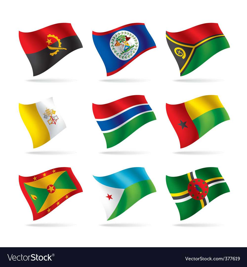 Set of world flags 11 Vector Image