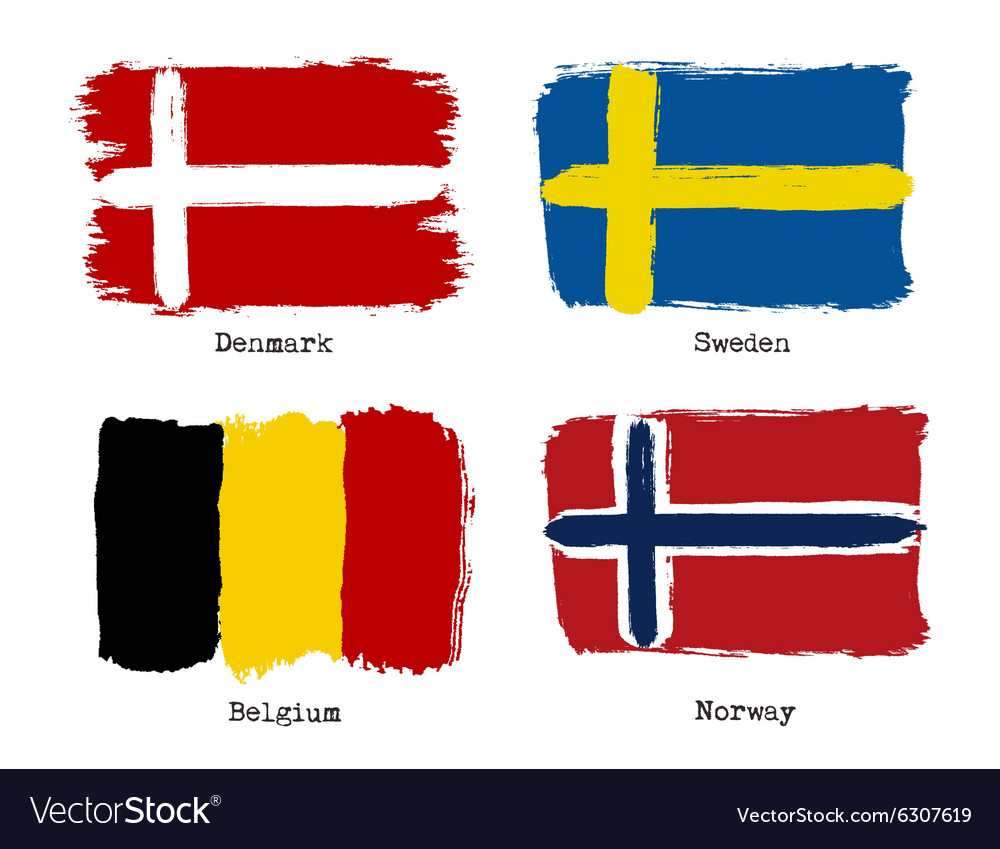 European Grunge Flags Flags Of Denmark Sweden Vector Image - Denmark flags
