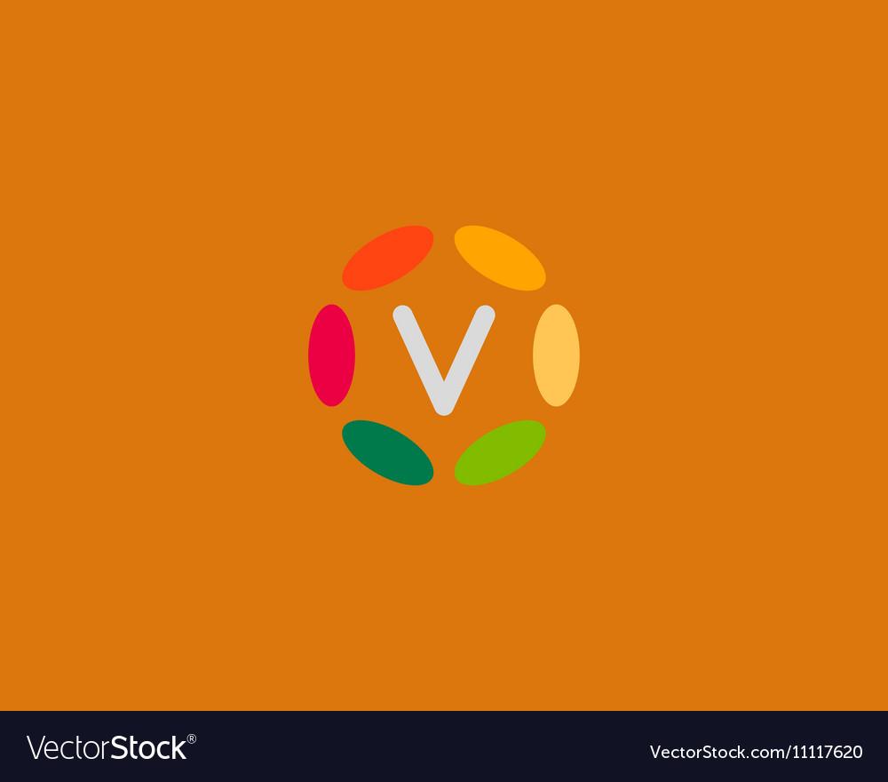 Color letter V logo icon design Hub frame vector image