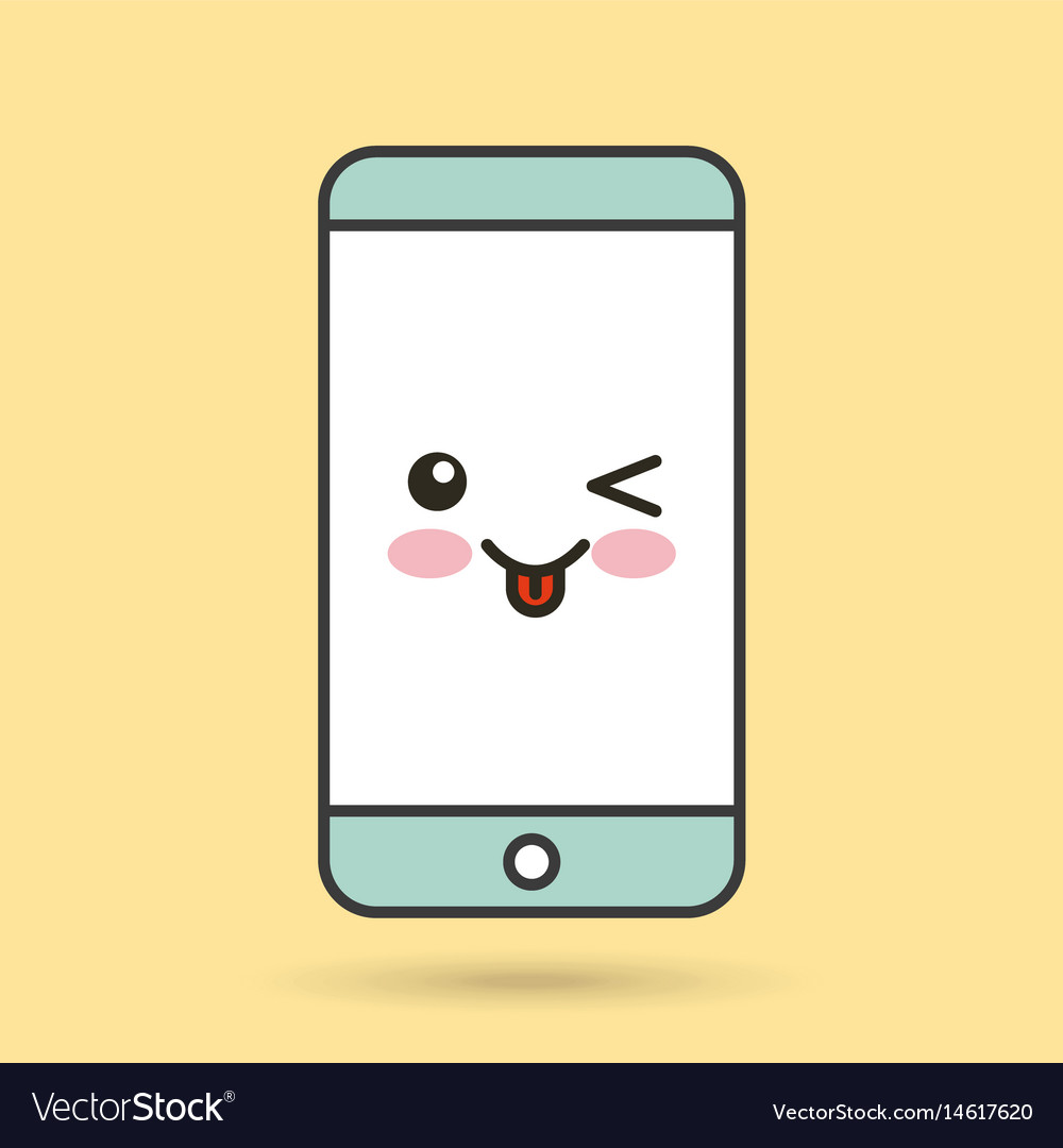 Smartphone character kawaii style vector image