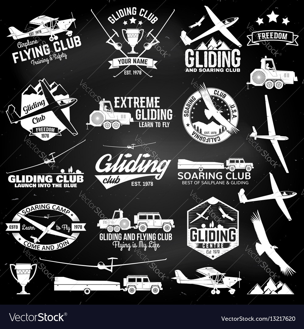Soaring club retro badges and design elements vector image