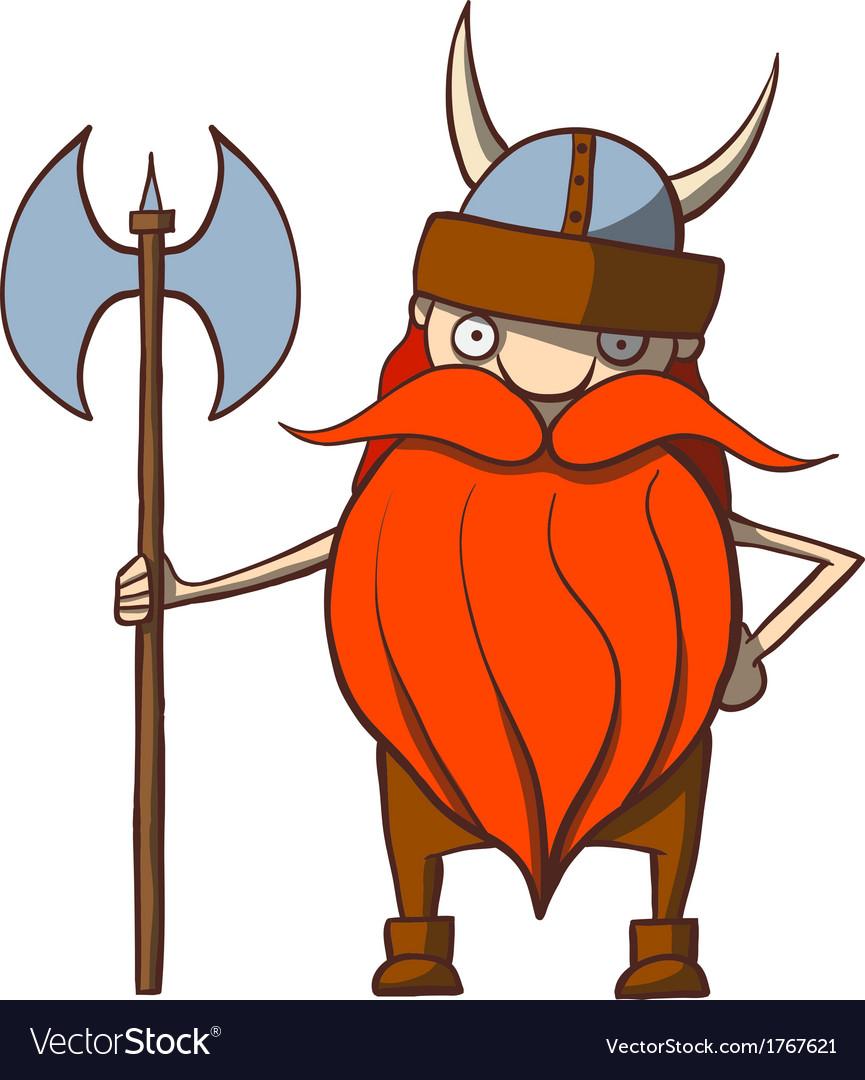 Funny cartoon viking with an ax vector image