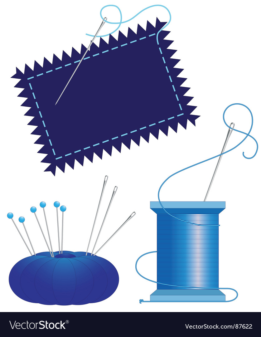 Denim needle thread vector image