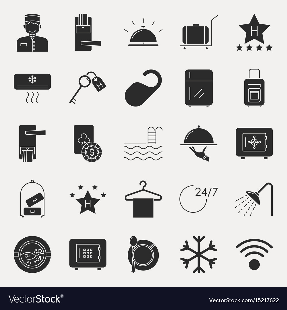 Collection of dark hotel icons vector image