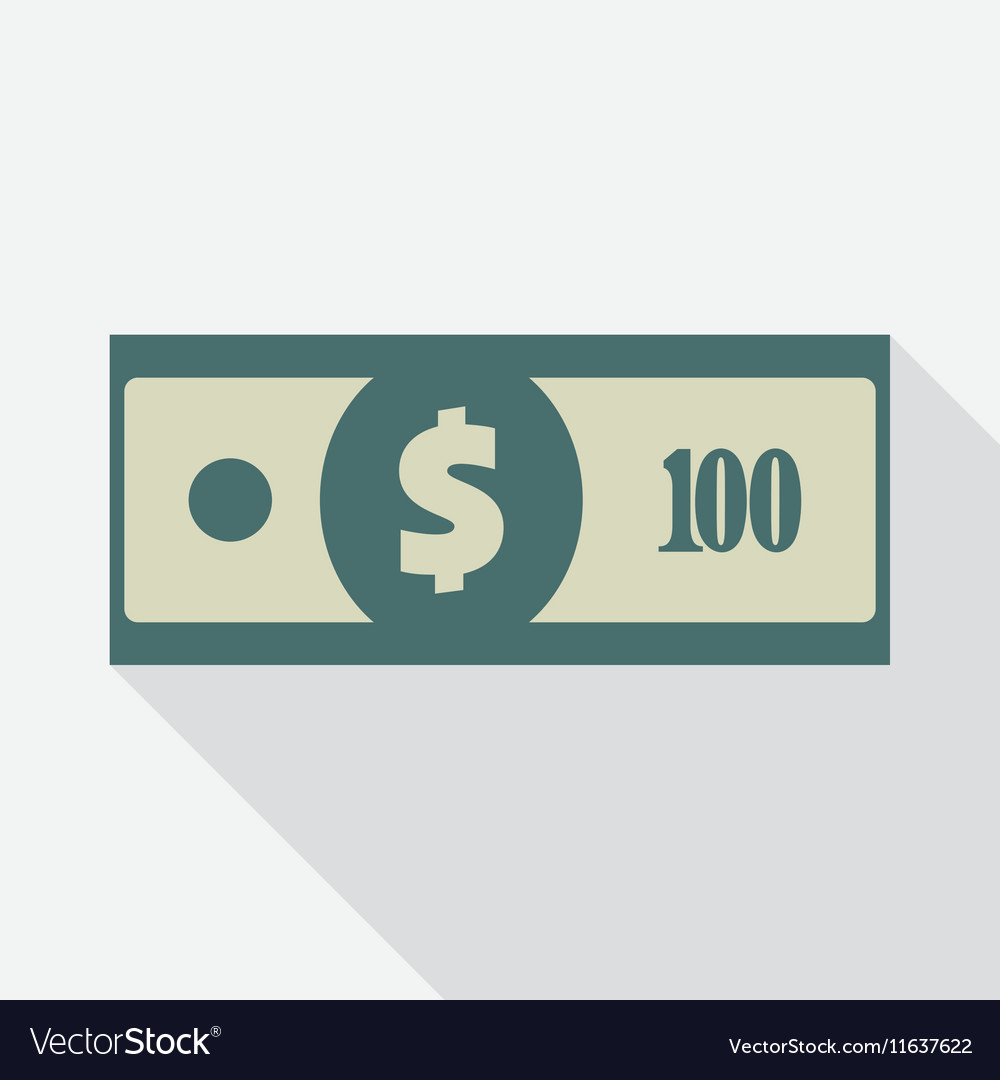 One Hundred Dollars Banknote Icon vector image