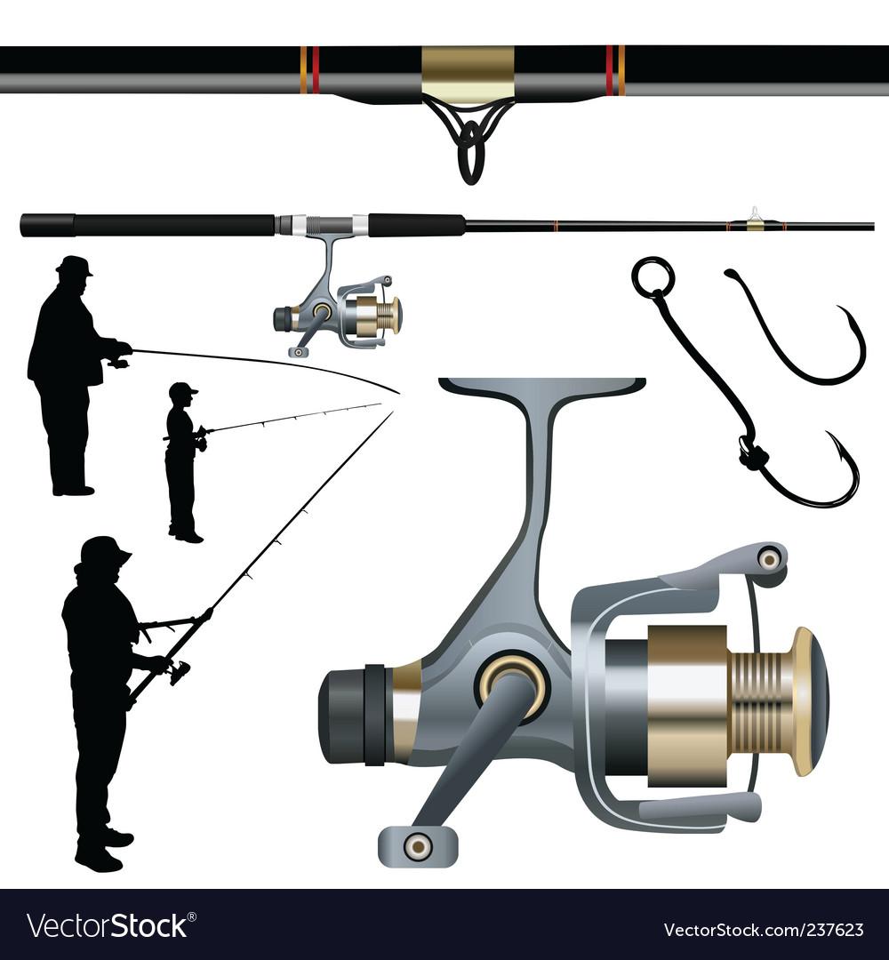 Fishing rod reel hook vector image