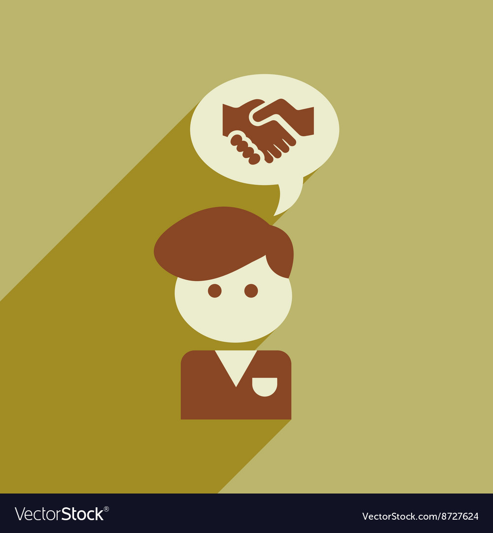 Flat web icon with long shadow businessman thinks