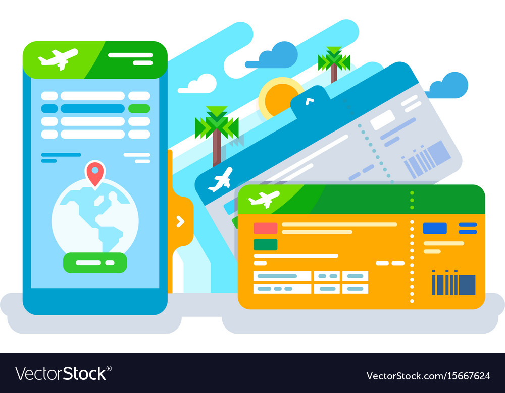 Tickets for the plane on a smartphone vector image