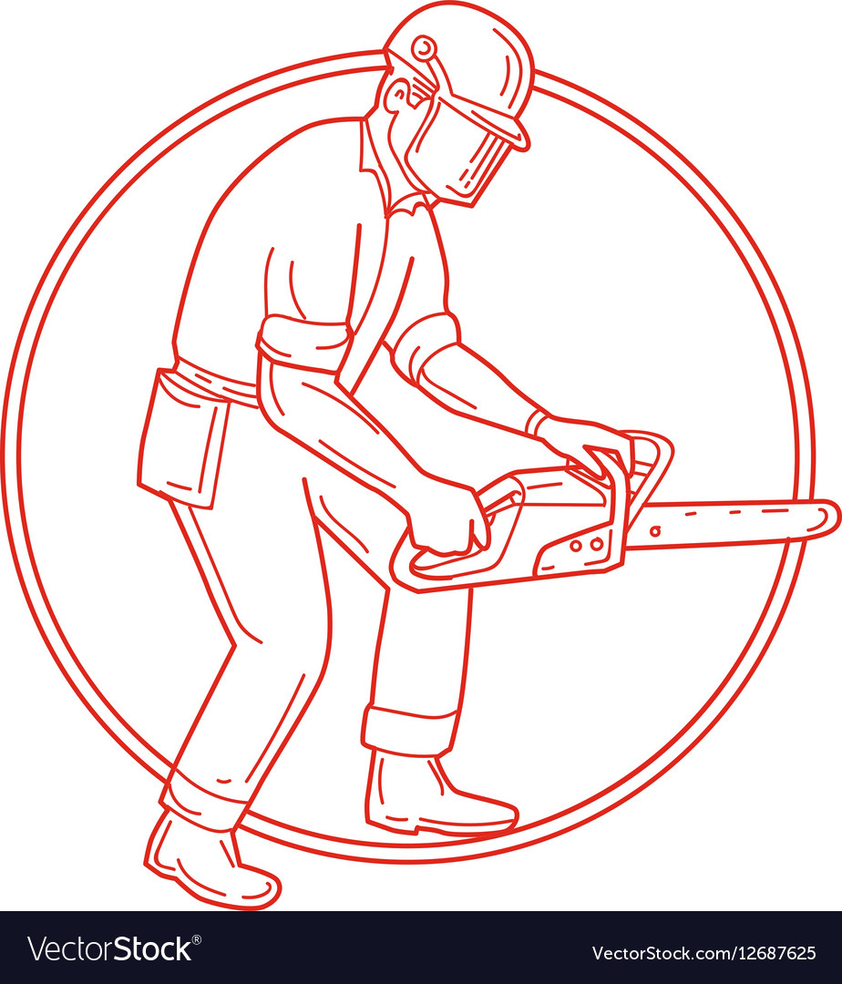 Lumberjack Arborist Chainsaw Circle Mono Line vector image