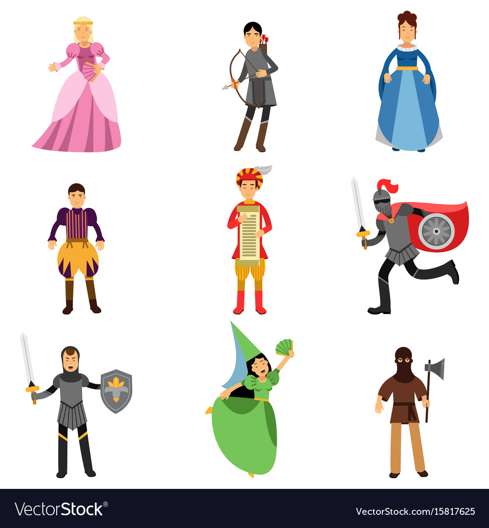 Medieval characters set people in the historical vector image