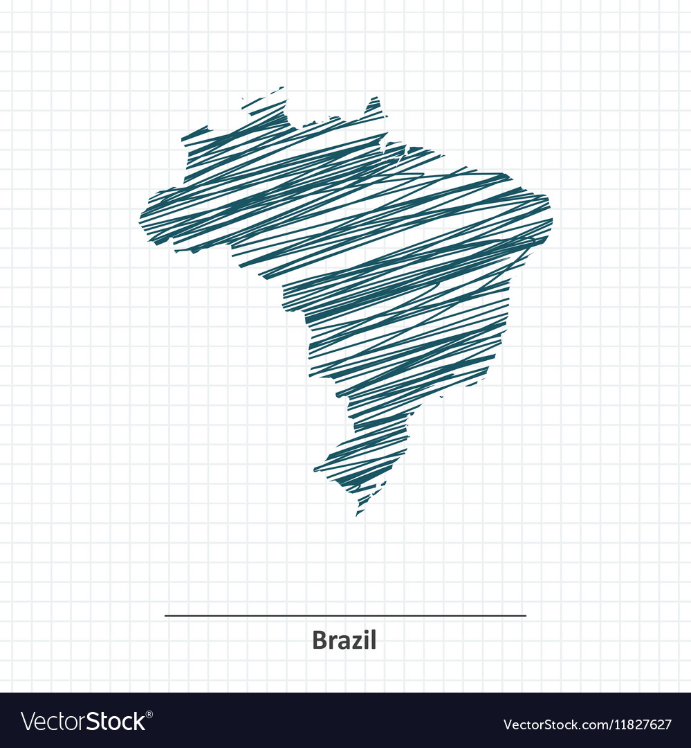 Doodle sketch of Brazil map vector image