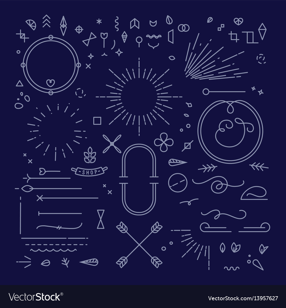 Flat design elements blue vector image