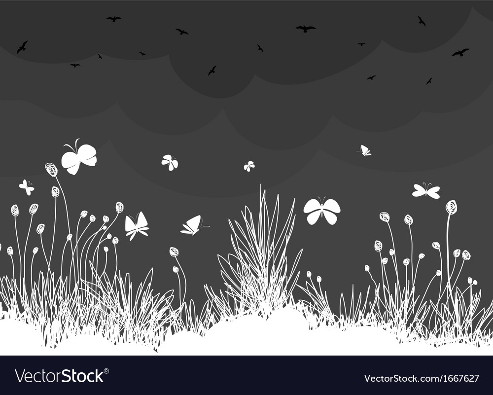 Ornamental garden with birds and butterfly vector image