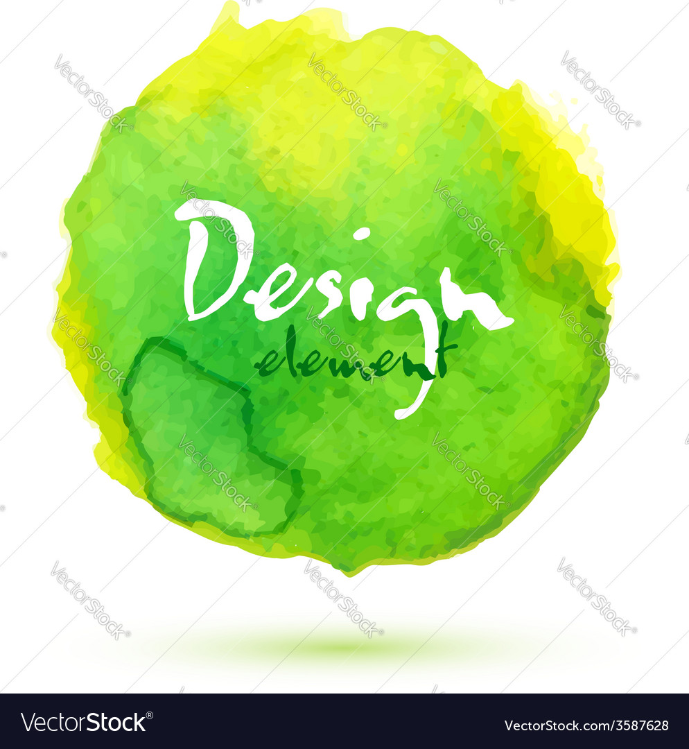 Bright watercolor green circle vector image