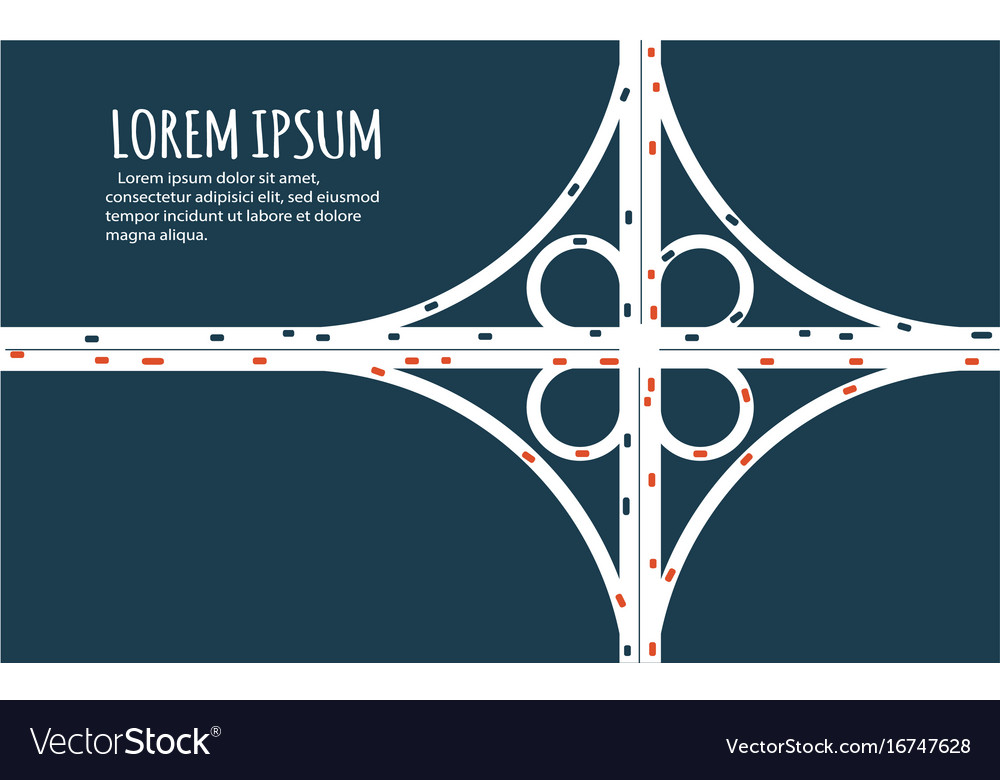 Busy highway road junction minimalistic banner vector image