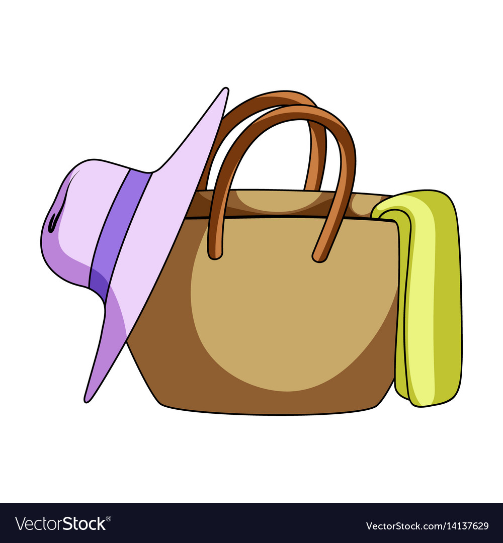 Beach bag with hatsummer rest single icon in vector image