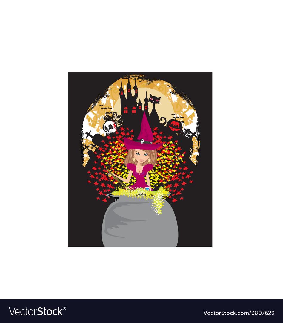 Halloween invitation - witch haunted castle skull vector image