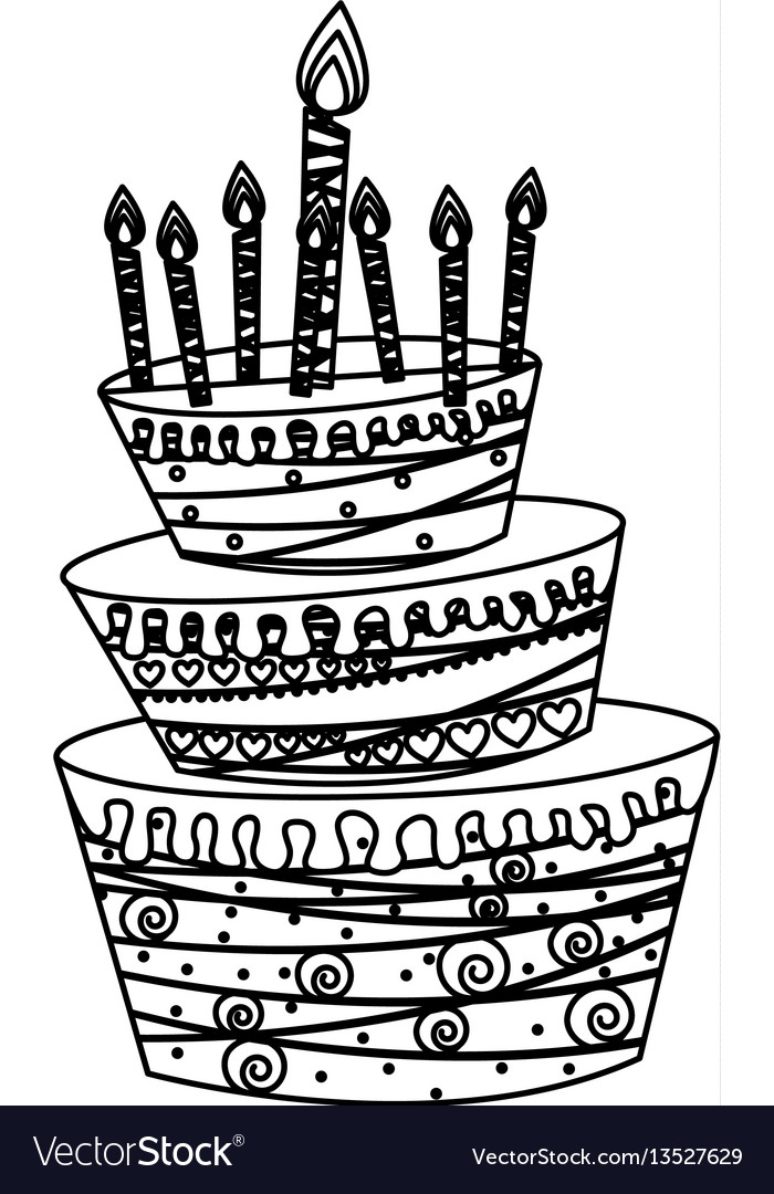 Silhouette big cake party with canddles icon vector image
