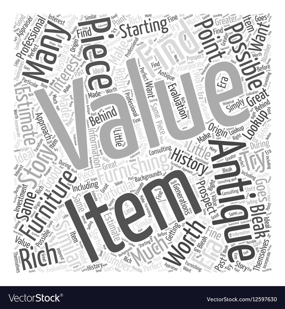 Antique furniture value lookup Word Cloud Concept vector image. Antique furniture value lookup Word Cloud Concept Vector Image
