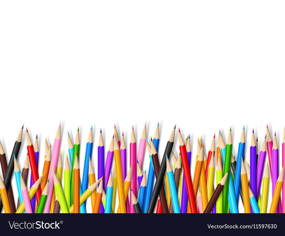 Color pencil on white background with copy space vector image