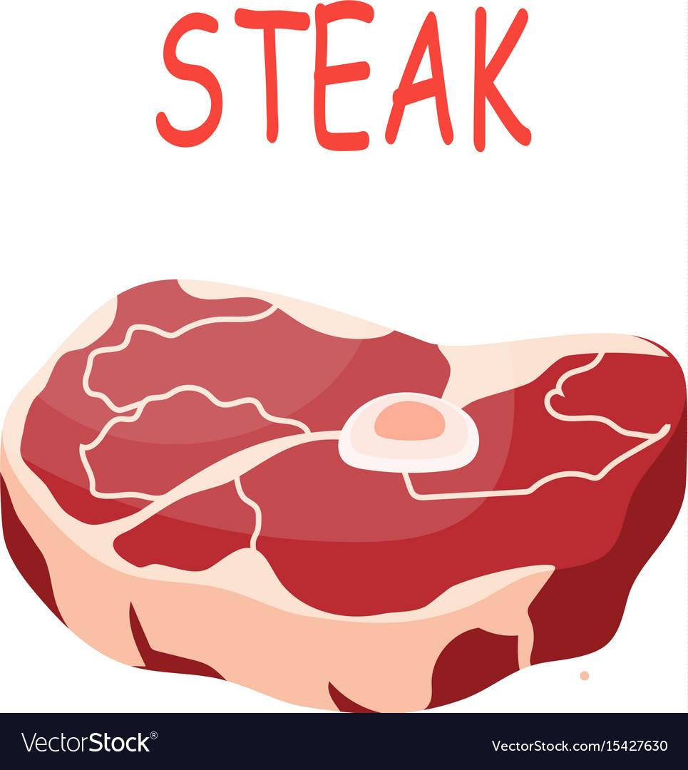 Fresh crude pork meat steak vector image
