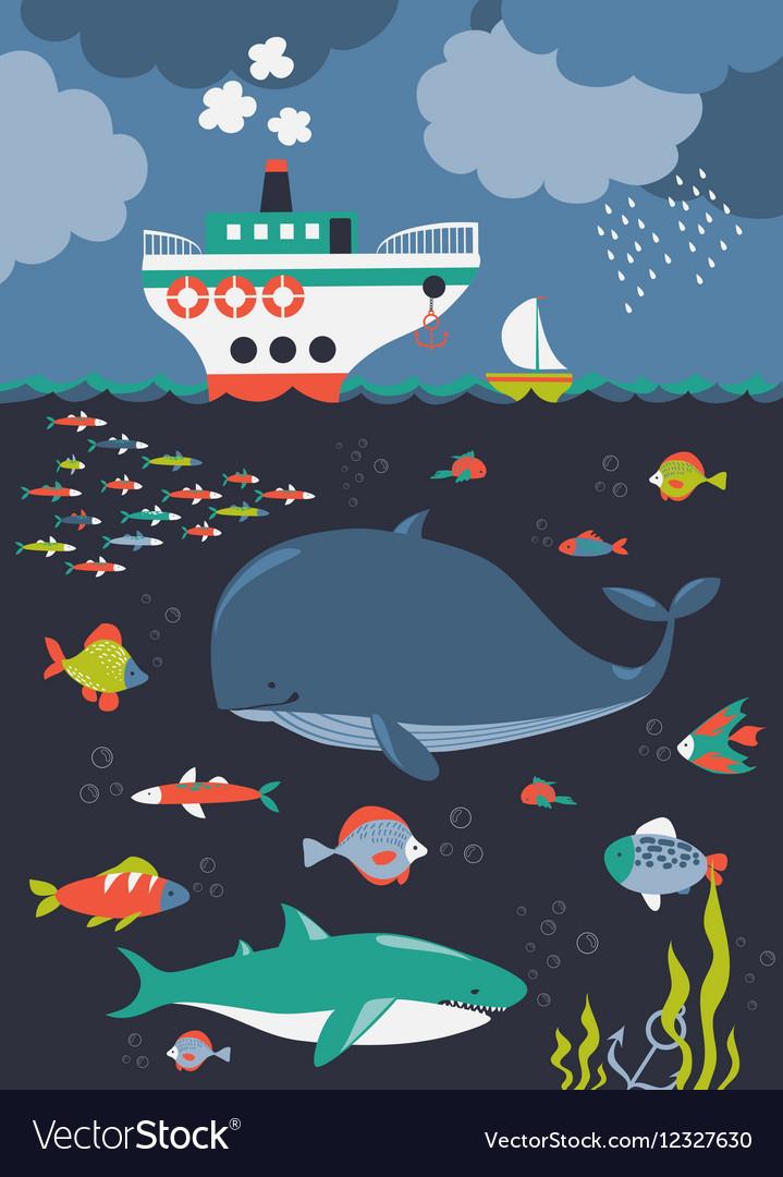 Sea life Underwater world vector image