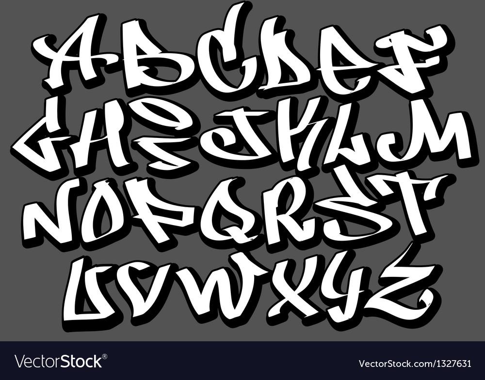 Graffiti font alphabet abc letters vector image