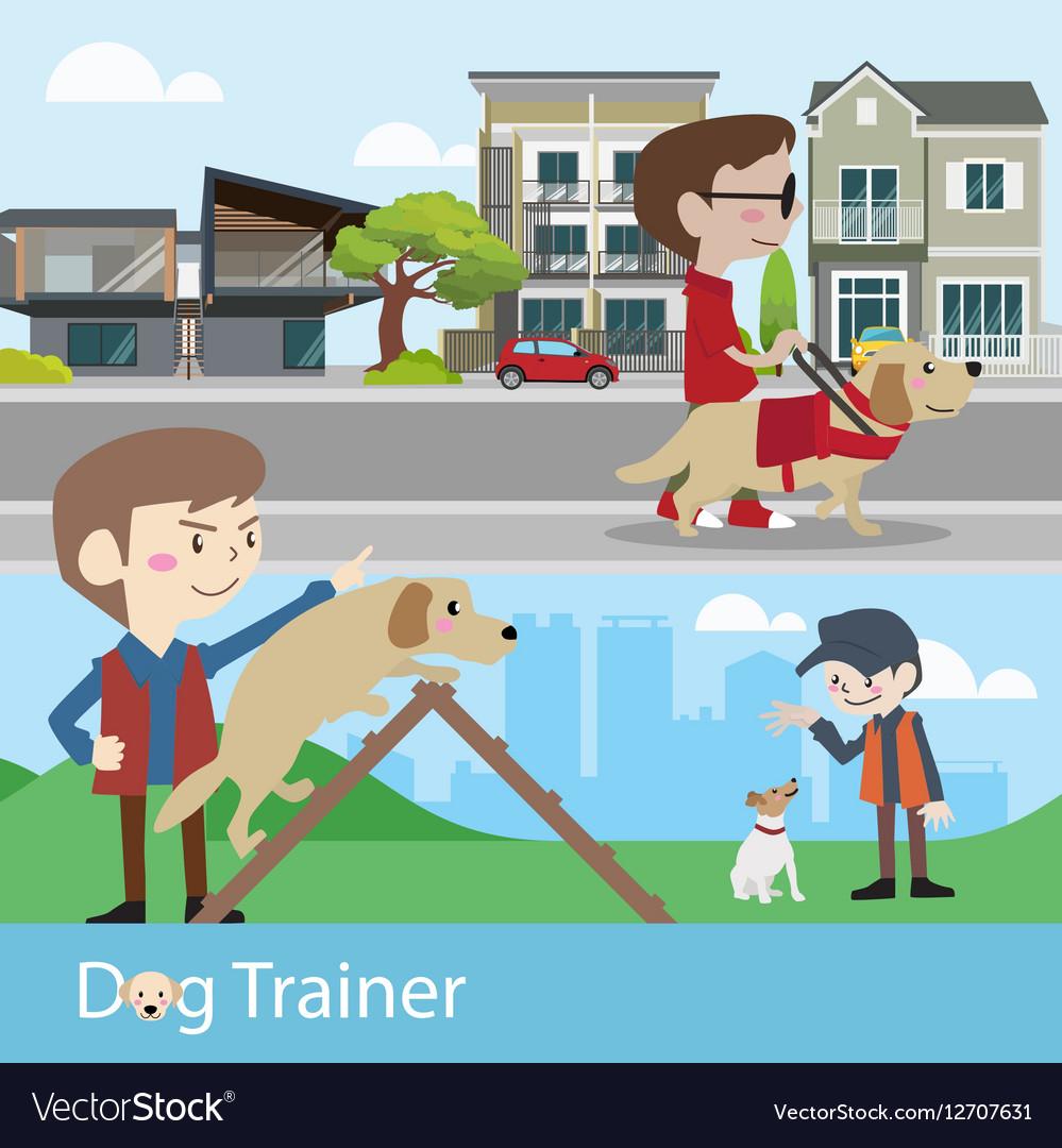 Dog trainer training vector image
