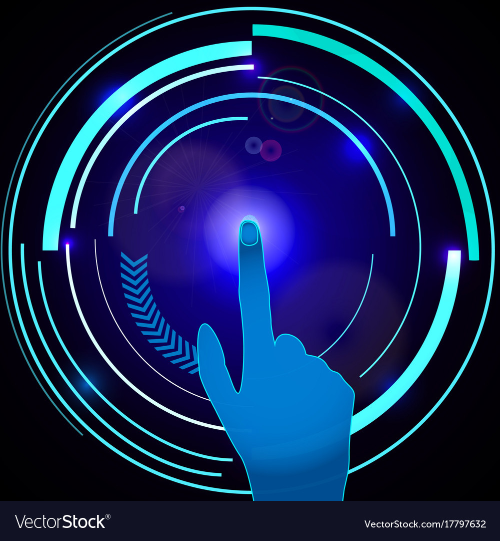 Interface technology abstract hand with scan vector image