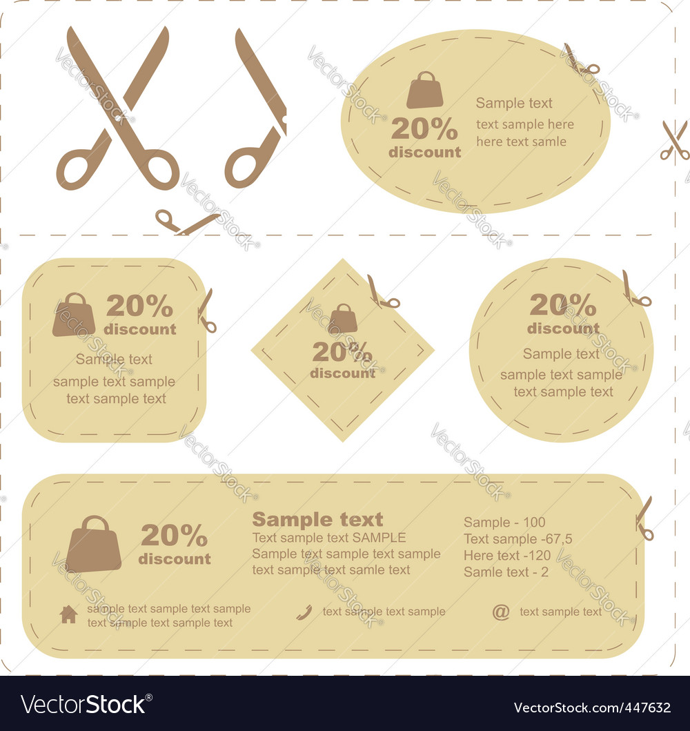 Vector scissors with cut lines vector image
