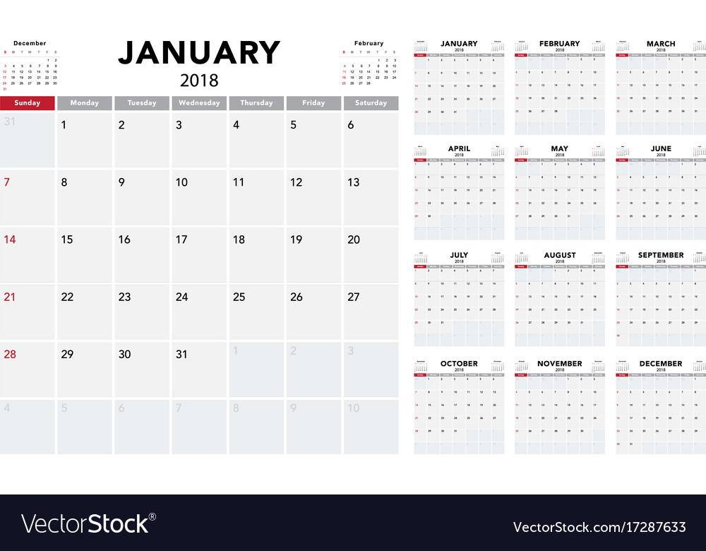 Calendar 2018 template design vector image