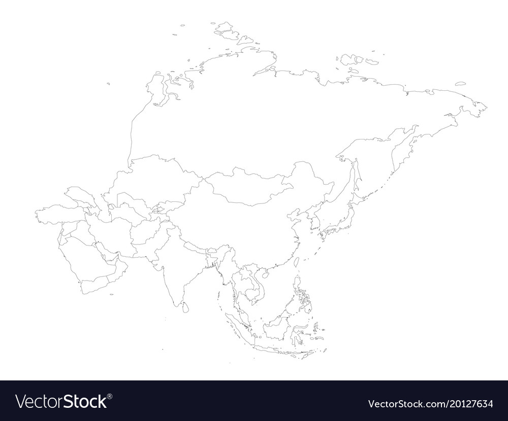 Blank political outline map of asia continent vector image gumiabroncs Image collections