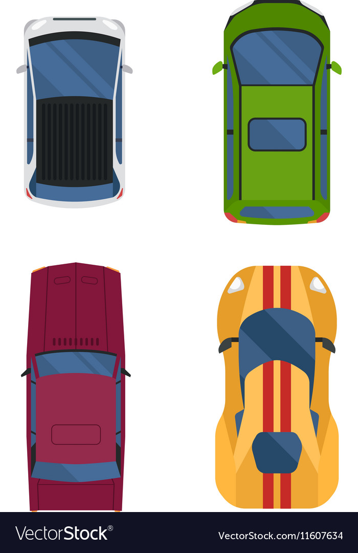 Car top view isolated vector image