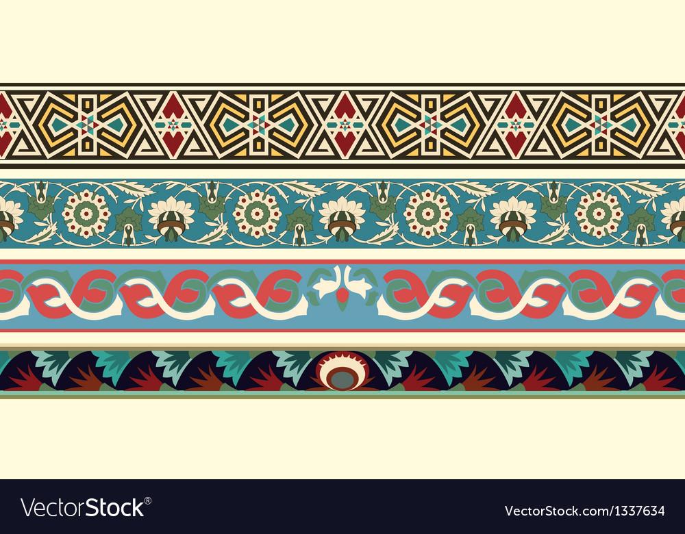Set of four decorative arabesque borders vector image