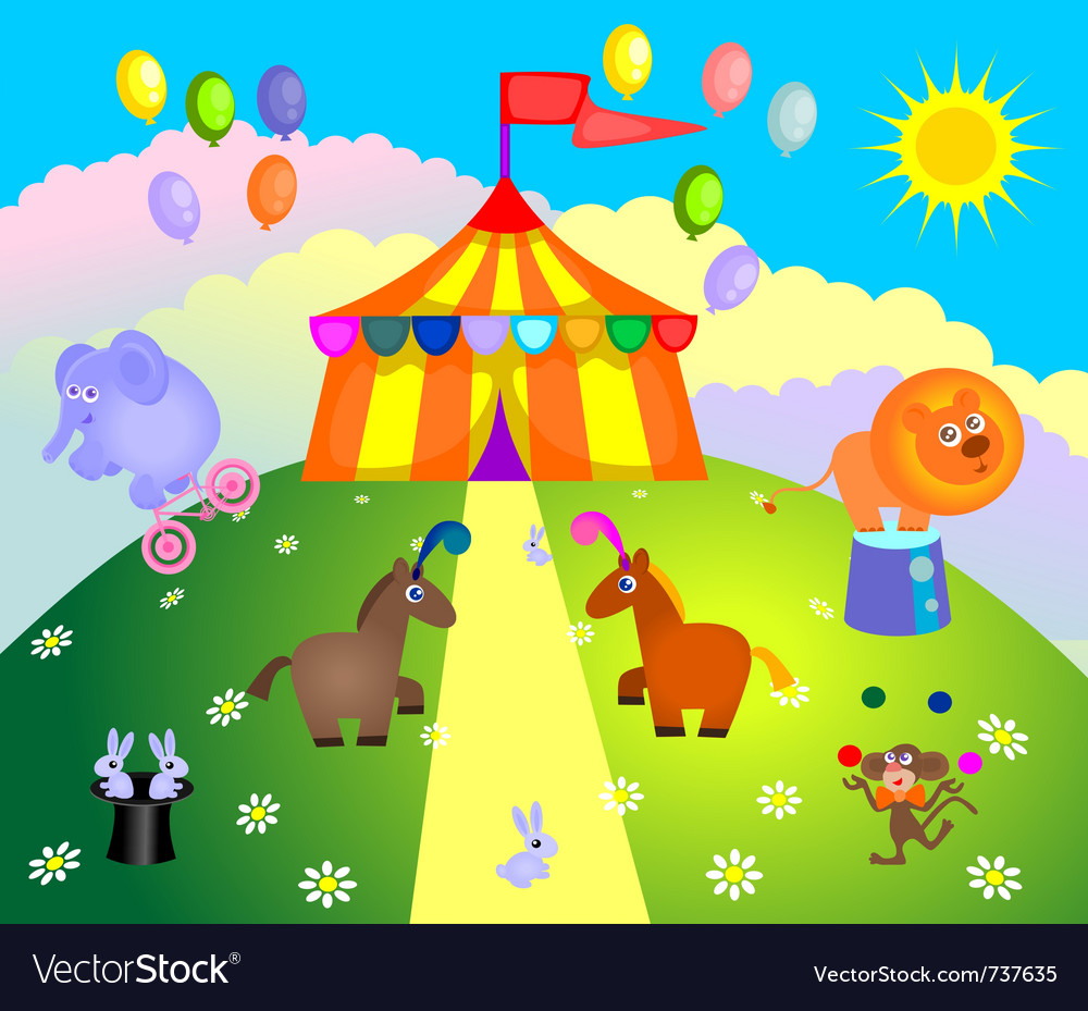 Circus tent and animals vector image