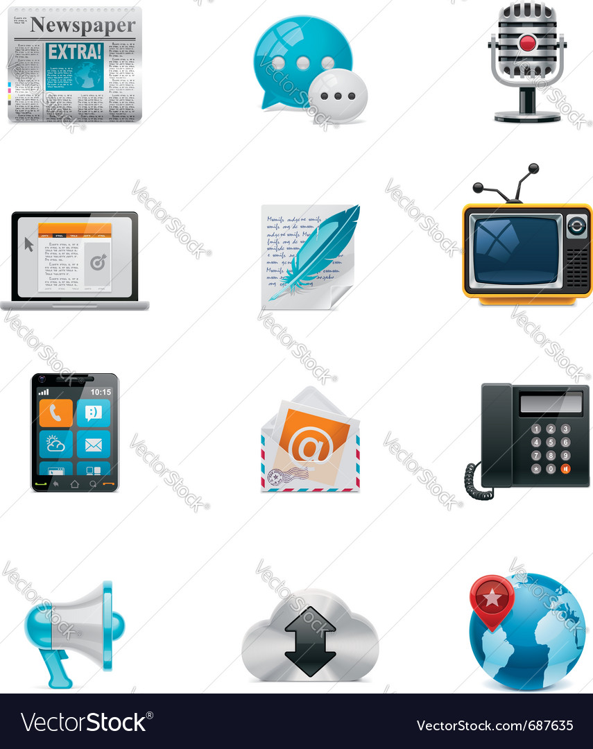 Communication and social media icon set 1 vector image