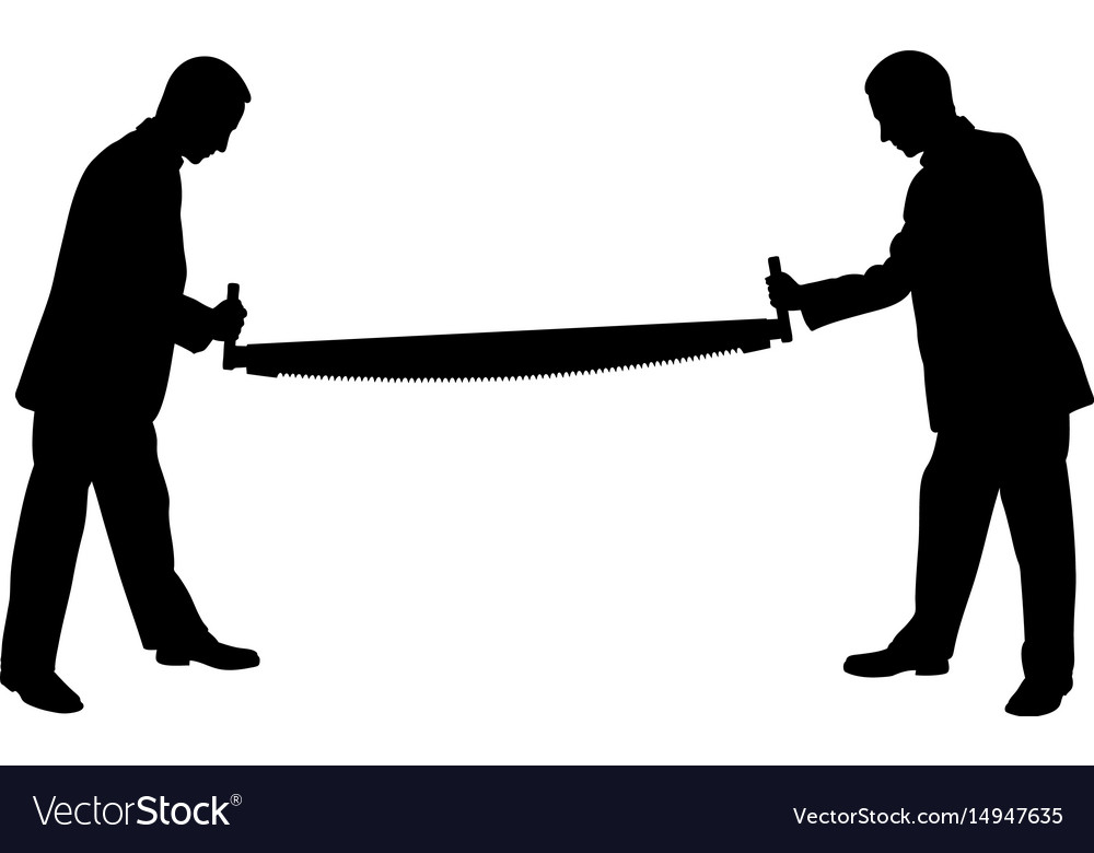 People silhouettes holding a saw vector image