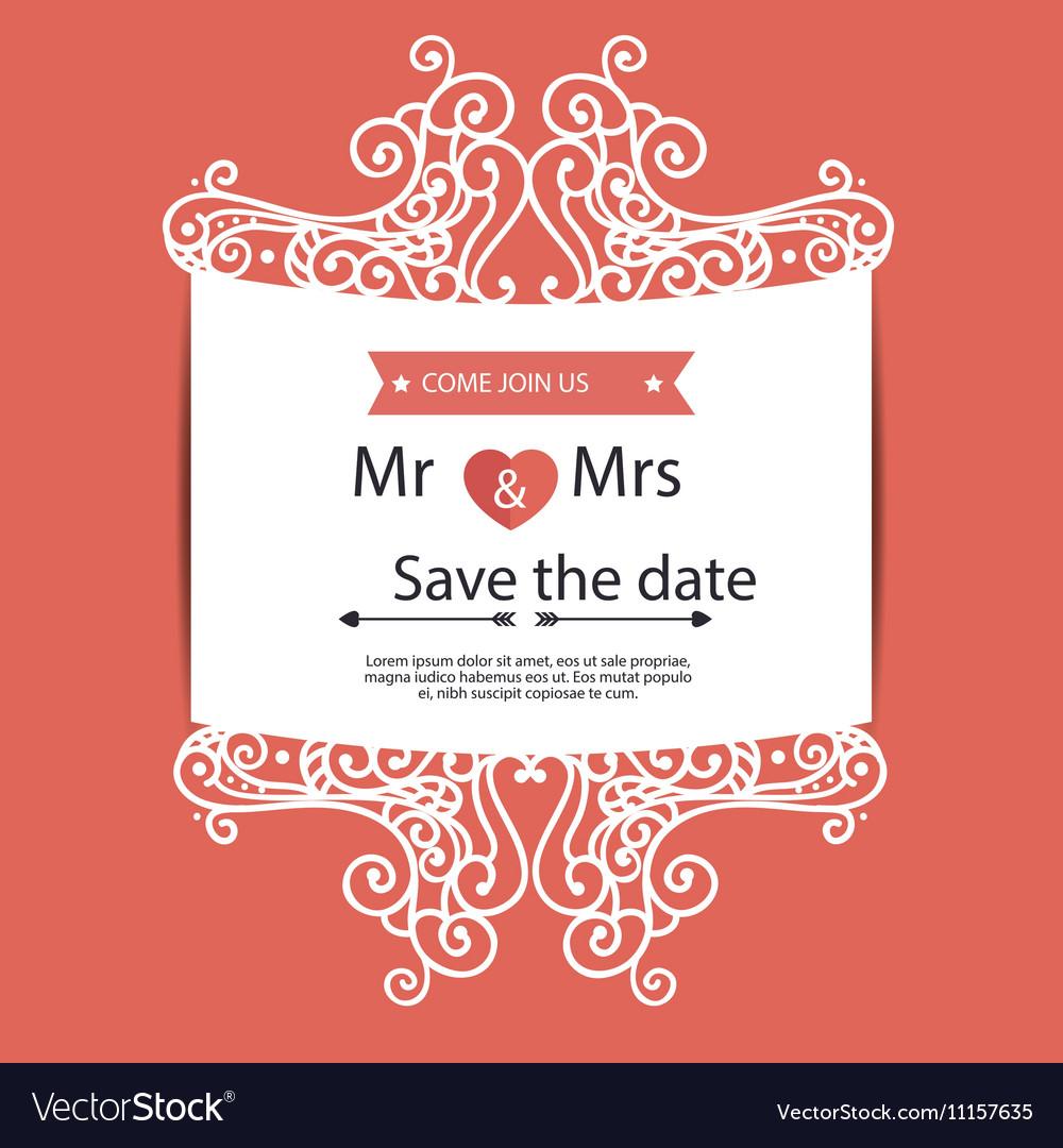 Vintage wedding invitation orange background vector image