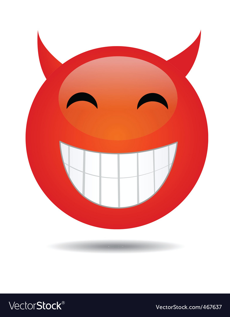 Evil smiley face vector image