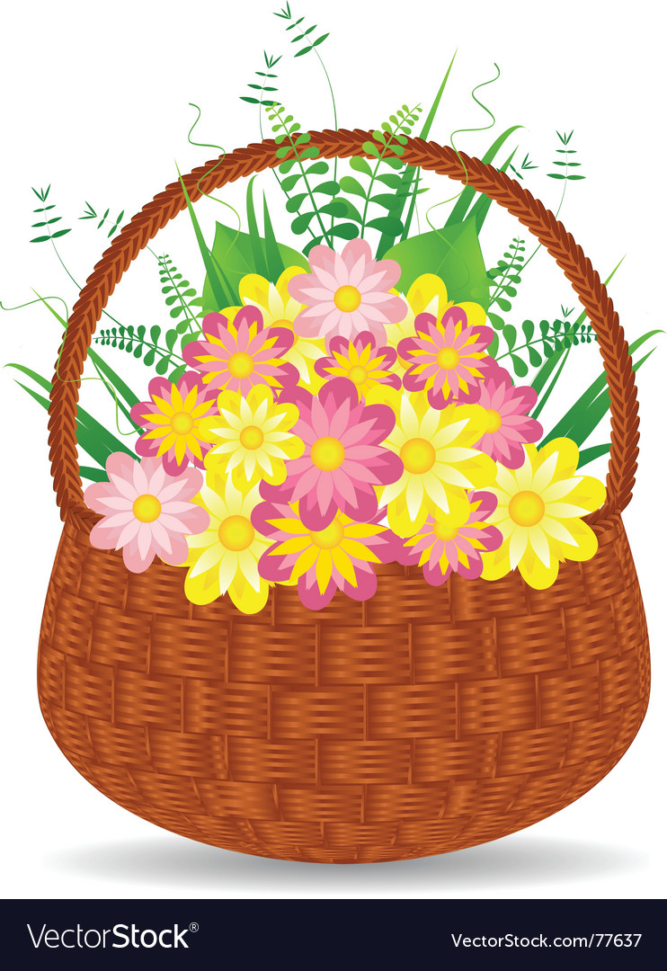 Flower basket vector image