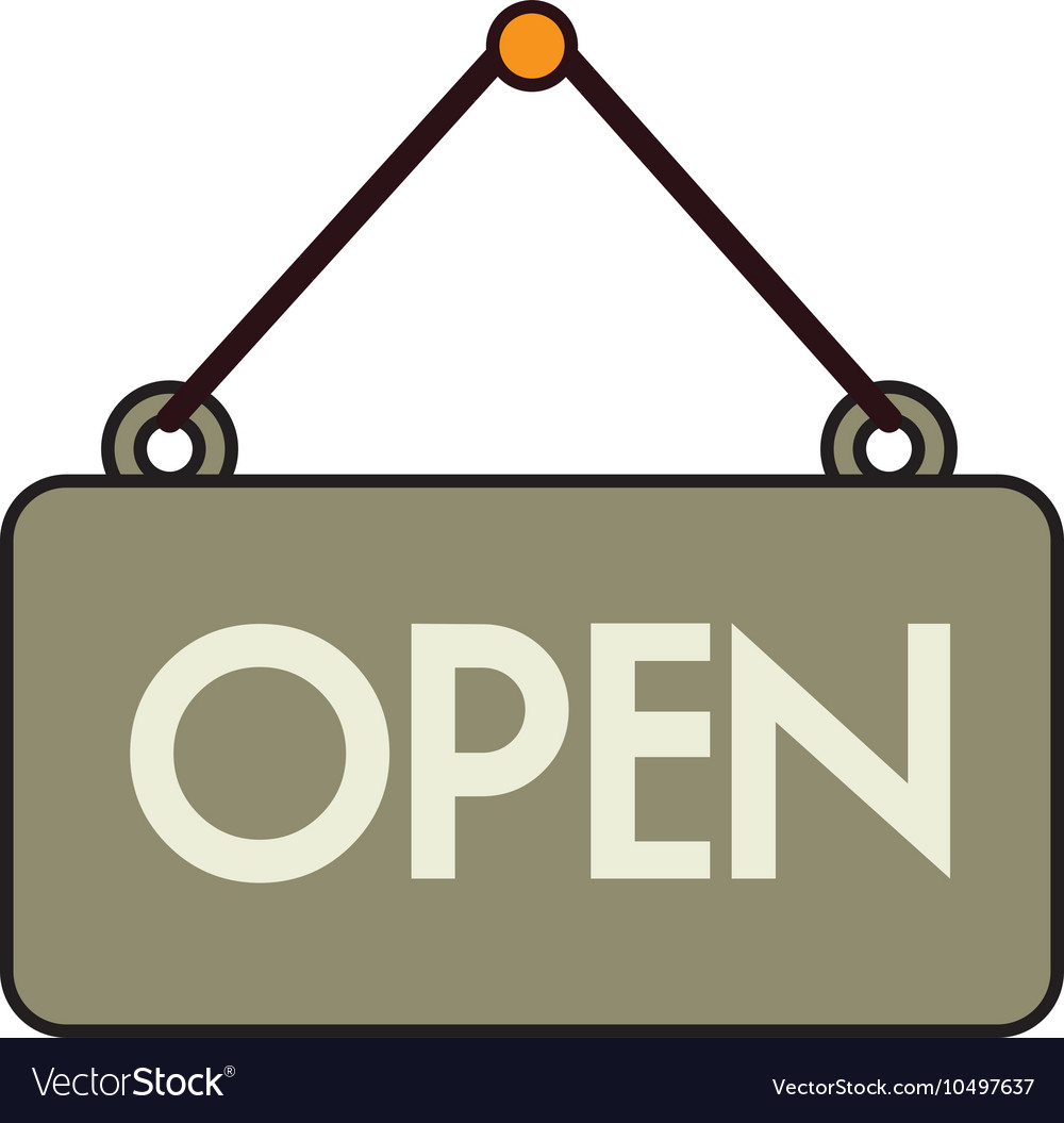 Open sign store isolated vector image