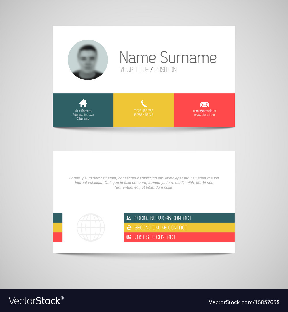 Modern business card template with flat user vector image flashek Gallery