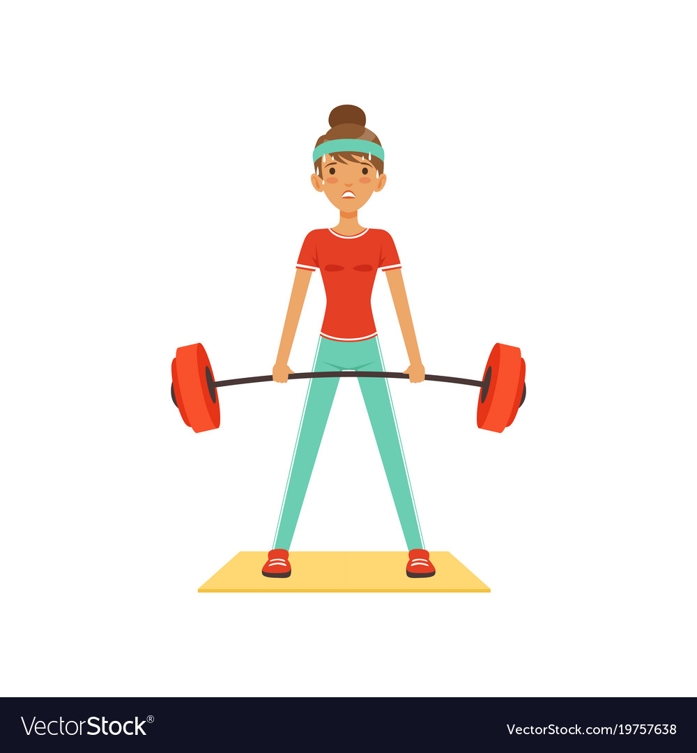 Sportive young woman character lifting barbell vector image