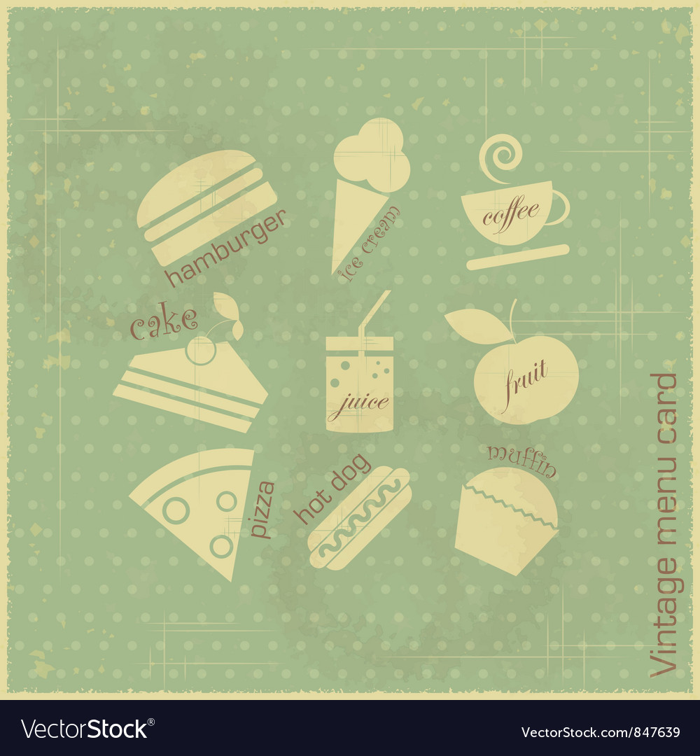 Retro menu card vector image
